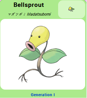 Pokémon GO::Items : Bellsprout-NO.069 = 4 Bellsprout CANDY
