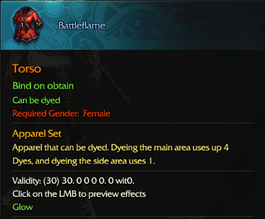 Revelation Online::Items : Battleflame(Famale 30days)