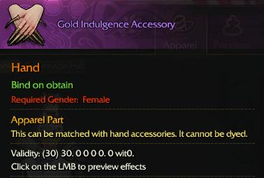 ::Items : Gold Indulgence Accessory(Female 30days)*2PCS