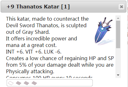 Ragnarok::Items : +9 Thanatos Katar