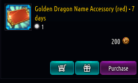 Kritika REBOOT::Items : Golden Dragon Name Accessory (red)-7 days*5